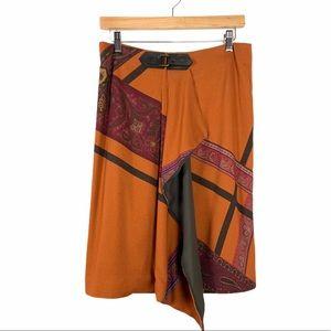 ETRO Paisley Print Faux Wrap Skirt Sz 42 US 6